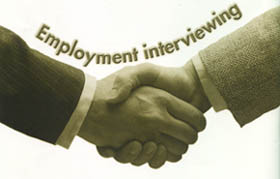 Congratulations hand shaking employer meets a new employee